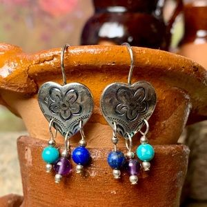 CAROLYN POLLACK etched hearts with GEM beads
